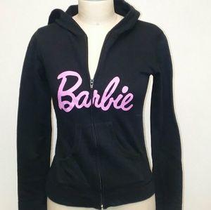 Black Real Barbie Long Sleeve Zip-Up Hoodie Sz M